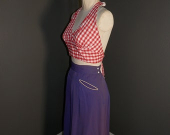 FREE SHIP 1950s GINGHAM Picnic Red Checked Halter Sun Swim Bra Top Topsy Turvy Sz Large
