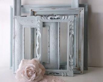Aqua Painted Frames. Shabby Cottage Chic Romance Decor