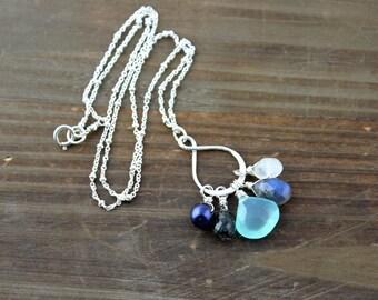 Gemstone Necklace, Infinity Necklace, Blue FreshWater Pearl, Rutilated Quartz, Aqua Chalcedony, Labradorite, and Moonstone Ne