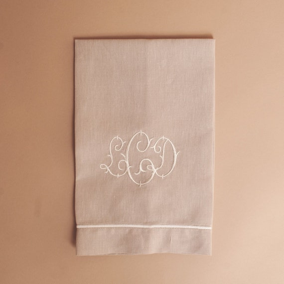 Guest Towels Linen: Monogrammed Natural Linen Guest Towel With By Sadiesstitchery