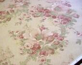 Rose Floral Decorator Fabric -Romantic Dustry Pink Olive Sage Green Ecru Flower PEARCE Inc. Drapery Upholstry Material 1997 OOP