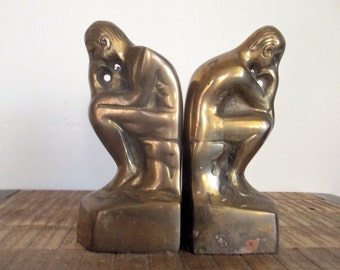 Pair of  Brass Thinker Sitting Man Bookends