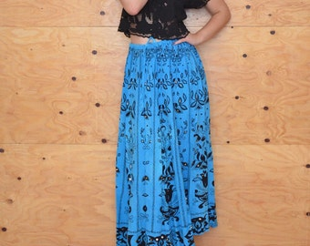 Vintage 70's Blue & Black Floral Maxi A-line Skirt Sequin Detail Gypsy Queen Small Medium