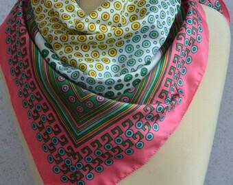 Vintage square scarf: Geometric, bright, spring, circles, dots, stripes