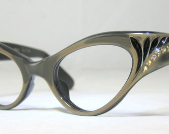 Vintage 60s Gold and Black Cat Eye Eyeglasses. AB Rhinestones. Swank Frame France
