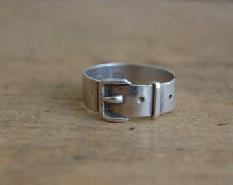 Antique 1890s sterling silver English buckle ring ∙ Victorian sterling buckle ring