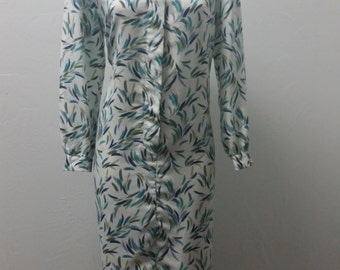 1970s Vintage Shirt Waist Dress, Print, Long Sleeve Shirt Dress, by Schroder Sport, Size Large/XL,  #60195