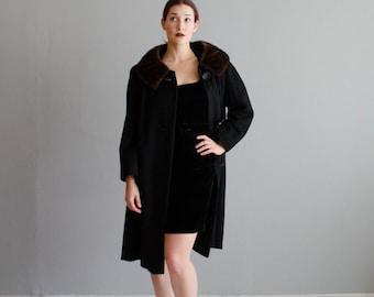 Vintage 1950s Cashmere Coat - 50s Fur Collar Coat - Intersection Cashmere Coat