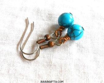 Blue Earrings Antiqued Copper Beaded Dangle Drop Turquoise Magnesite Howlite Gemstone Beads
