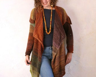 Chocolate Pistacio Annie Statement Cardigan Sweater -  kid mohair, cotton, silk custom blended ombre