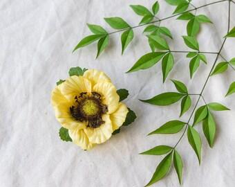 yellow anemone flower clip // tamara / natural garden wedding headpiece, hair accessory, whimsical, woodland, nature inspired.