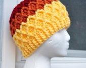 Crochet Lattice Hat - Red, Orange, Yellow