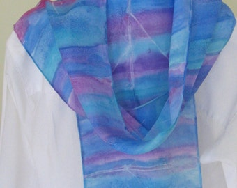 Hand painted rowing silk scarf aqua blue purple raspberry tones 8x54 Canadian design