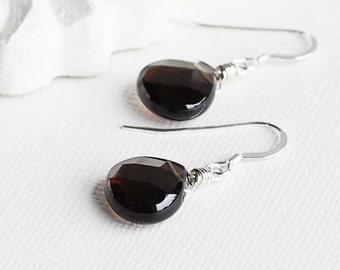 Smoky Quartz Gemstone Teardrop Earrings on Sterling Silver Hooks