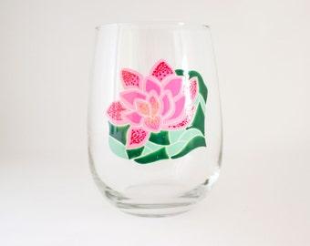 Pink Water Lily - Mosaic Art - Hand Painted Wine Glass - Lotus Flower - Decor - Dining - Japanese Garden - Dinnerware
