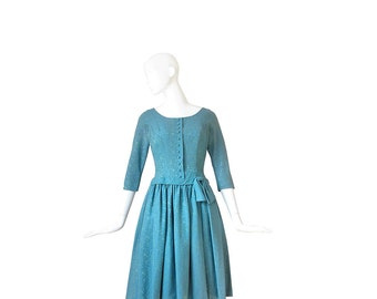 1950s Dress • 50s Blue Party Dress • Cocktail • Small S