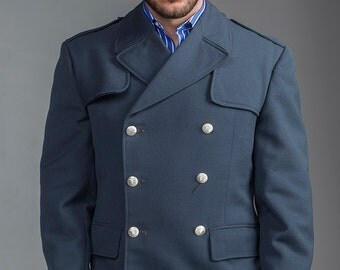 1960's REDESIGNED/ REVAMPED Swedish Army MILITARY Style Vintage Gabardine Gray Blue Wool Peacoat by Top Rank Vintage ( Unissued)