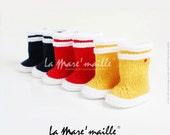 Bottes de pluie bébé en laine La Mare'maille hommage à la marque Aigle, inspirées du modèle Lolly Pop