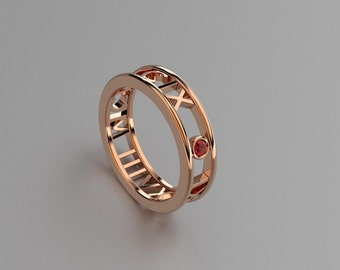 Round Ruby Roman Numeral Ring in Solid 14k, 18k Rose Gold. Valentine's Day Gift for Couples. Wedding & Anniversaries