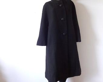 1950s Black Wool Swing Coat - vintage dressy outerwear - size small/medium