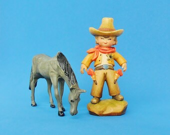 Anri Ferrandiz Carved Wood Cowboy Sheriff Figurine Limited Edition Heart Guns Collectible Western Boy Wooden Carving Valentines Day Gift