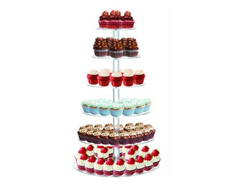 "6 Tier Clear Acrylic Round Cupcake Stand Wedding Birthday Cake Display Tower 1/4"" Thick"