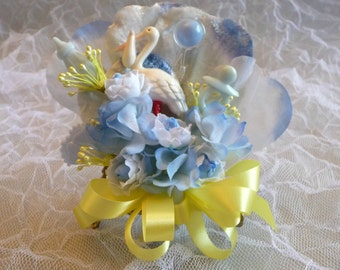 Baby Shower Corsage Vintage Stork Yellow Blue Flowers It's a Boy Mommy to Be Cake Topper Decoration