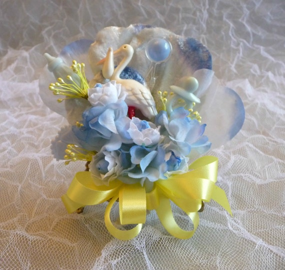 Baby shower corsage vintage stork yellow blue flowers it s a boy mommy