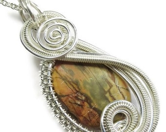 """Picasso Jasper & Sterling Silver Wire-Wrapped """"Swish"""" Pendant on Chain (SWPSS33)"""