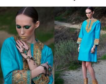 Dress 70s Vintage Tunic SILK Gold Lurex Dress Festival  // Vintage Dresses by TatiTati STYLE on Etsy