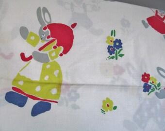 SALE! Vintage ZORBIT Bunnies Rabbit Duvet cover + pillowcase Nursery kids craft fabric 70s 80s