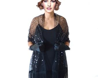 Black Shawl, Black Stole, Black Lace Stole, Black Lace Wrap, Black Sequin Fringe piano, Black Wrap, Evening Shawl,Lace Scarf, Gothic