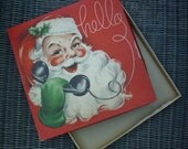 Santa on Telephone Box. Hello. Vintage 1950s 1960s. Mid Century. Gift Wrap Box, Empty. Santa Claus on Phone. Christmas Decor. Repurpose.
