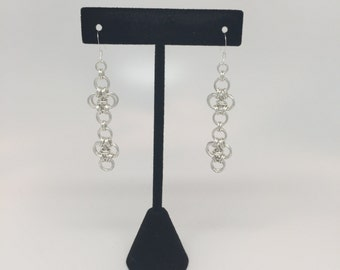 Sterling Silver Woven Chandelier Drop Earrings
