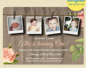 Girls First Birthday Photo Invitation, Country Rustic Birthday Invite, Printed 1st Birthday Invitation
