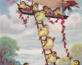 Easter Zeppelin- 1910s Antique Postcard- Edwardian Fantasy- Airship Blimp- Easter Chicks- Paper Ephemera- Used