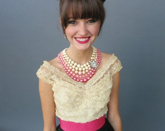 Pink Pearl & Crystal Necklace Multi-Strand Rhinestone Statement Hot Pink Pastel Vintage Graduated Pearls Wedding 1000317