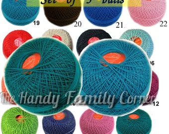 Crochet thread size 30 cotton thread. Egypt Cotton Yarn Bombay, Set of 5 balls. Tatting thread Tatting Cotton. Lace crochet Wholesale DSH