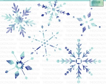 Watercolor Snowflakes - Artsy Digital Clip Art - INSTANT DOWNLOAD - for Invites, Crafts, Collage, Journaling, Cards, Scrap Booking, ATCs