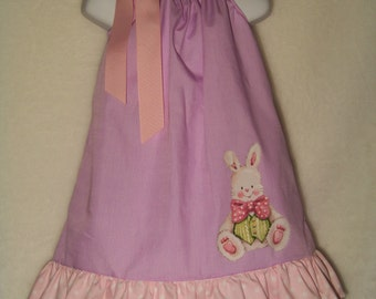 Easter Bunny Pillowcase Dress / Purple / Pink/ Rabbit/ Cute / Newborn / Infant / Baby / Toddler / Girl / Birthday / Custom Boutique Clothing