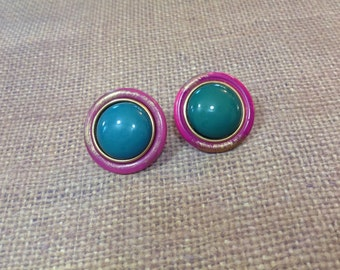 Vintage Teal Magenta Button Earrings