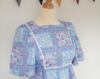 70s Maxi  Dress  Pride and Prejudice Blue Flower UK 10 S US 8