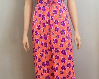 Vintage 70s Floral Halter Maxi Dress