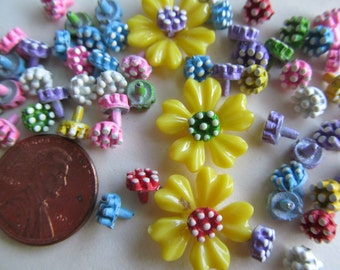 100 Itty Bitty Tenny Tiny Colored Metal Flowers