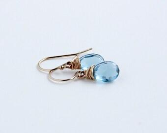 Blue Earrings, 14K Gold-filled Jewelry, London Blue Quartz Earrings, Bridal earrings