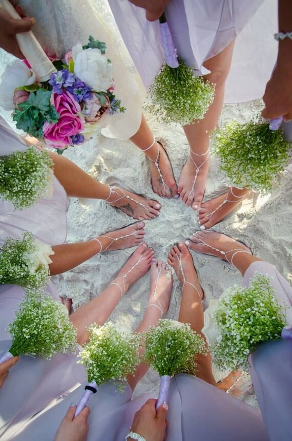 Barefoot Sandals- Bridesmaid Gift- Foot Jewelry- Beach Wedding Sandals- Swarovski Crystals- Barefoot Wedding Shoes- Boho Wedding Shoes
