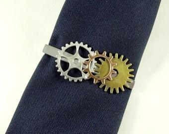 Tie Bar Tie Clip,   Steampunk Victoria Industrial Gears Silver and Brass  Mens Accessories  Handmade