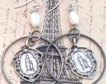 FRENCH ROSARY vintage assemblage antique religious earrings