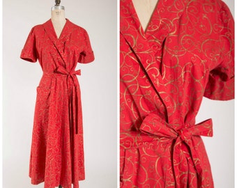 Vintage 1950s Robe • Lounge in Sparkles • Red Gold Print Cotton 50s Full Length Dressing Gown Size Medium Large