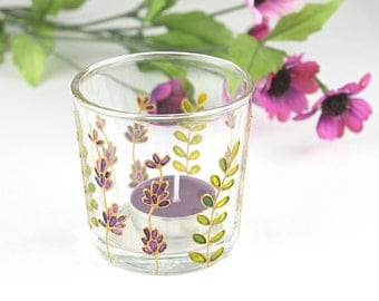 Glass Candle Light Holder, Lavender Candle Holder, Lavender Glass Tea Light Holder, Hand Painted Votive Candle Holder, Ready to Ship